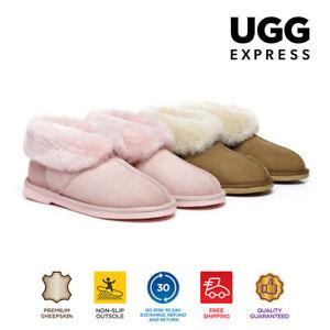 UGG Kids Mallow Ankle Slippers/Scuffs, Premium Australian Sheepskin