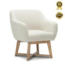 Aston TUB CHAIR Armchair Solid Wood Lounge Sofa Accent Fabric Retro Beige Modern