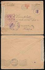 USA 1918 ww1 CENSURATO IN ITALIA YMCA BUSTA... NASTRO + 2 handstamps