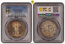 1869 Switzerland Zug 5 Francs PCGS MS62 R-1671b