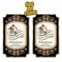 2 Personalised Wine Bottle Labels Stickers Happy Christmas Vintage Gift Present