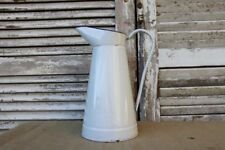 Vintage French Enamel Pitcher/ Jug White and Blue