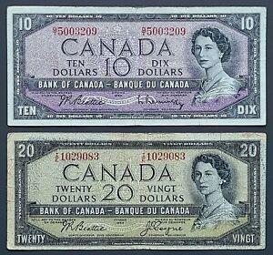 1954 Bank of Canada $10 & $20 Dollar Banknotes - Circulated