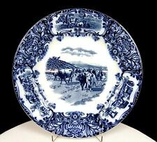 """WEDGWOOD & CO ENGLAND FLOW BLUE COWS PATTERN 10"""" DINNER PLATE"""