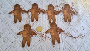6~Christmas~Primitive~Gingerbread Man~Linen Cardstock~Gift~Hang~Tags~Ornies
