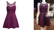 Women's Purple Skater Clubwear/CASUAL/partie V dos ouvert dentelle Mini robe