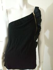 Women's CYNTHIA STEFFE Francesca style Off One Shoulder Black Ruffle Top size M