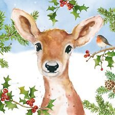 4 x Single Paper Napkins/3 Ply/Decoupage/Craft/Christmas/Young Deer/Hey Deer
