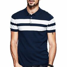 Men Polo Shirt Short Sleeve Contrast Color Slim Lapel T-Shirt M to 2XL New!!!