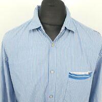 HUGO BOSS Mens Shirt XL Long Sleeve Blue SLIM FIT Striped Cotton
