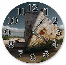 "10.5"" OLD RUSTIC ABANDONED BOAT CLOCK - Large 10.5"" Wall Clock - Home Decor 3198"