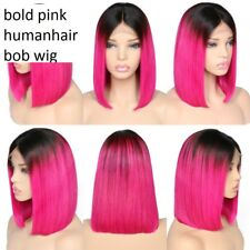 fluid pixie fusia bright pink highlights straight bob lace front human hair wig