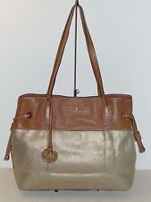 Pre-owned Michael Kors Marina Large North South Drawstring Tote Gold