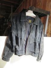 Western Black Leather Fringe Jacket Mens Heavy Size 44