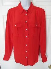 J Crew Blythe Red Silk Blouse Shirt Size 4