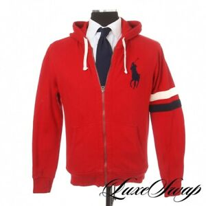 Polo Ralph Lauren Red Fleece Lined Striped Arm Big Pony Hoodie Sweatshirt M NR
