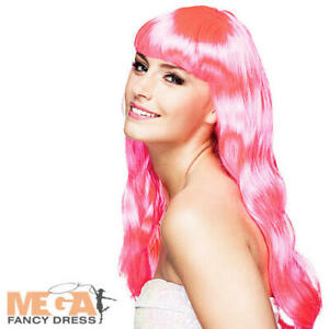 Long Hot Pink Chique Wig Ladies Fancy Dress Adults Celebrity Costume Accessory