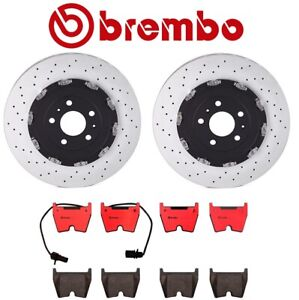 For Audi RS4 2007-2008 Front Left & Right Brake Discs Rotor Pads Set Brembo Kit
