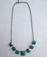 Squares Classic Necklace Nwt New Makarlon Boutique Silver & Turquoise