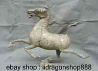 Ancien cheval chinois dynastie en bronze argenté de 15,6 po marchant sur le vol