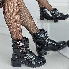 LADIES PATENT WOMENS STUD STRAP BLOCK PATENT HEEL BUCKLE ZIP ANKLE BOOTS SHOES