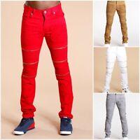 New Men's Distressed Biker Pants
