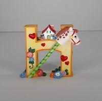 Vintage Mary Engelbreit Alphabet Letter H Hobby Horse Resin Figurine