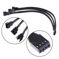 PWM 4 Pin Y Splitter Computer PC Fan Power Adapter Cable - Black Sleeved Braided