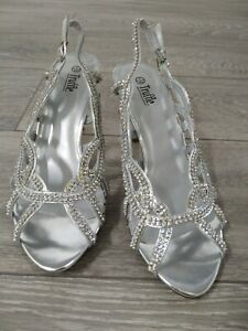WOMENS LADIES HIGH MID HEEL DIAMANTE EVENING PROM SANDALS SHOES SIZE UK 7