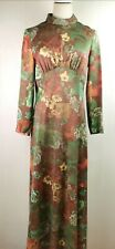 Vintage retro 1970s Brown and Green maxi dress party  Dress Sz 8-10