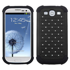 Samsung Galaxy S III S3 HYBRID IMPACT Dazzling Diamond Case Phone Cover Black