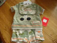 Baby Togs 3 piece set shorts shirt bib 0-3 M NWT 22.00 outfit