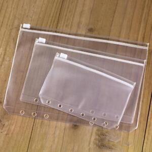 2Pcs A5 A6 A7 Binder Zipper File Pocket Refill Envelope Transparent Planner Q0I7