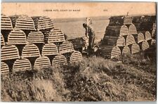 Man with Lobster Pots, Coast of Maine Vintage Postcard G25
