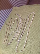 "5 mixed Length Pearl Necklaces,Including 28"" Gold Plated Napier."