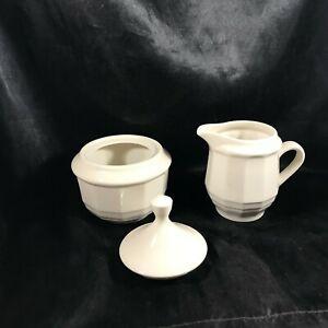 White Ceramic Paneled Sugar Bowl and Creamer Set