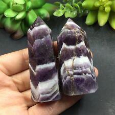 MAGIC-97g 2pcs Natural chevron Amethyst wand Point Healing Reiki X5326