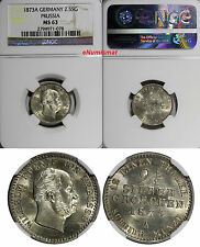 German States PRUSSIA Silver 1873 A 2-1/2 Silber Groschen NGC MS63 KM# 486