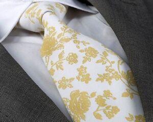 ITALIAN DESIGNER Milano Exclusive WHITE/GOLD FLORAL SILK TIE