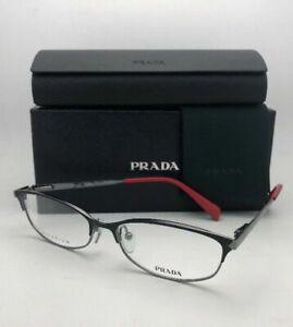 New PRADA Eyeglasses VPR 63R 1BO-1O1 55-16 Black Gunmetal & Red Titanium Cat Eye