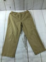 Talbots Womens Flat Front High Rise Stretch Straight Tan Trouser Pants Size 16