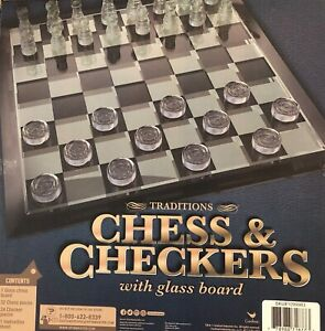 Classical Traditional Chess & Checkers Set with Glass Board