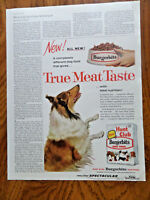 1960 Hunt Club Burgerbits Dog Food Ad    Collie Dog