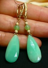 AAA NATURAL FACETED AUSTRALIAN CHRYSOPRASE BRIOLETTE 14K GOLD LEVERBACK EARRINGS