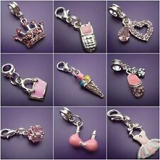 PINK ENAMEL  / RHINESTONE CLIP ON OR EUROPEAN DANGLE CHARM FOR CHARM BRACELETS