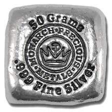 50 Gram Hand Poured Monarch Precious Metals Silver Bar 999-New-50 g - MPM