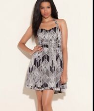 NWT GUESS VERONICA SLEEVELESS PRINTED HALTER, JET BLAC MULTY DRESS, SIZE 8