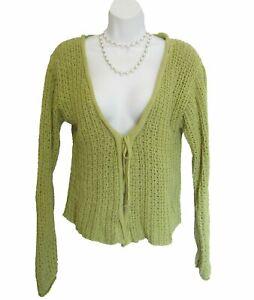 Dusty GREEN Flyaway Sweater Size S M Cardigan Open Weave Habitat Boutique Cotton