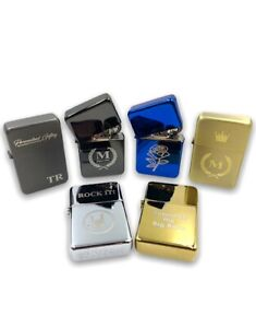 Personalised Lighter Engraved Any Logo Any Text Metal Flip Refillable & Gift Tin
