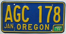 Oregon 1974 License Plate HIGH QUALITY # AGC 178